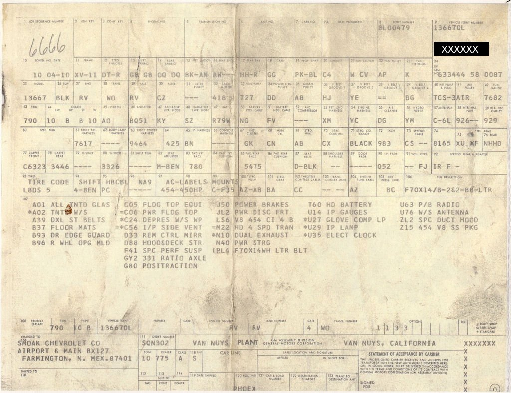 Atlanta Chevelle Build Sheets Autos Post